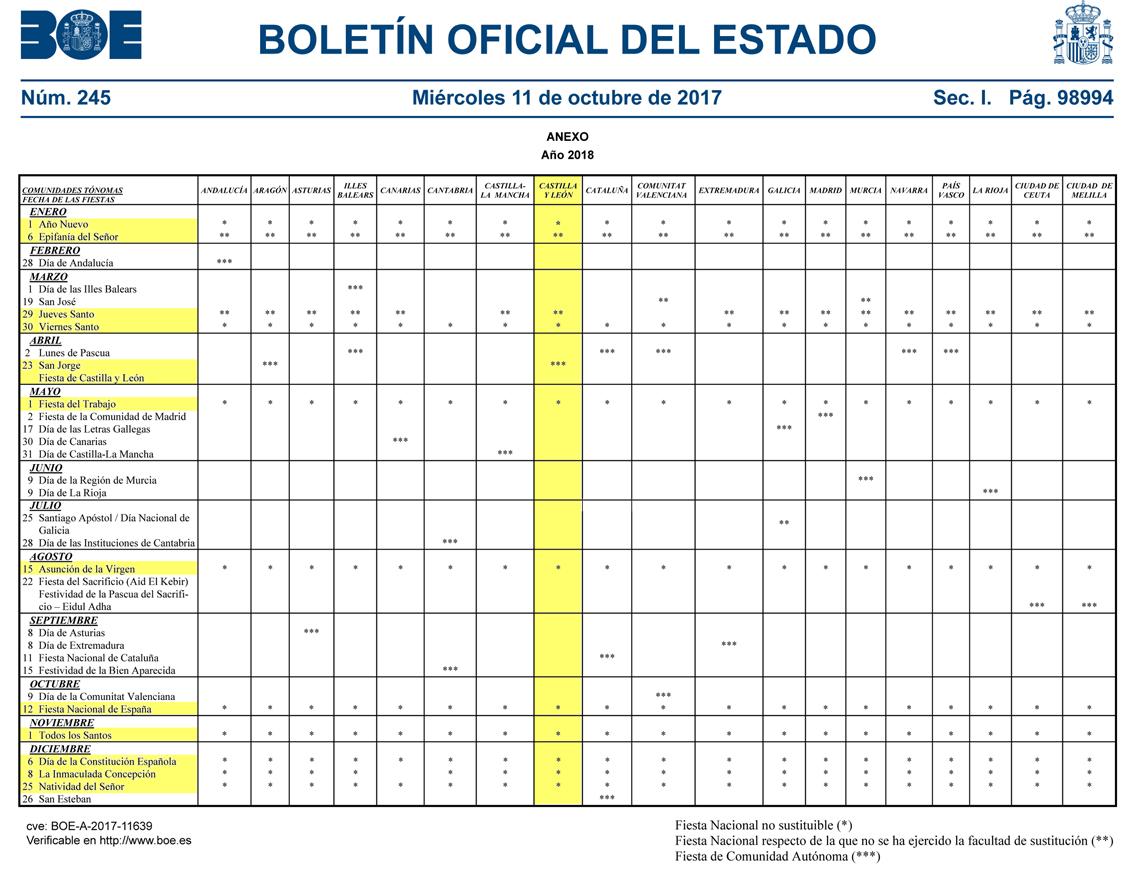 Boe Calendario.Calendario Laboral 2018 En Castilla Y Leon Gestoria En Aranda De